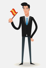 businessman with a Spanish flag