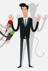 Illustration of a businessman lying to the press