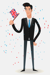 businessman with a UK flag