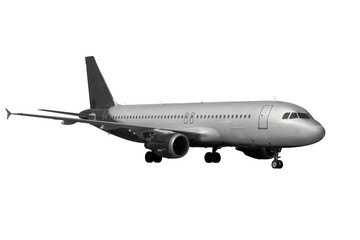 plane with dark landing gears isolated on white