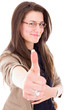 successful young business woman showing thumbs up