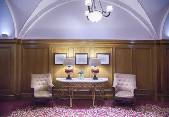 lobby room in classic hotel