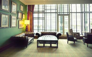 retro room in classic hotel interior