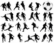 Silhouettes  of football players 2, vector