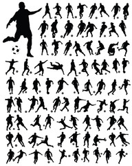 Silhouettes  of football players 3, vector