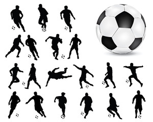 Silhouettes  of football players, vector