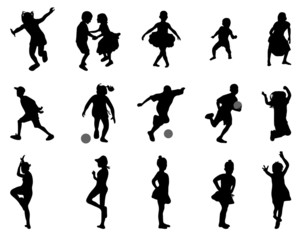 Silhouettes of children, vector