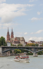 Basel, Altstadt, historisches Münster, Rhein, Sommer, Schweiz