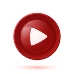 Red glossy play button icon