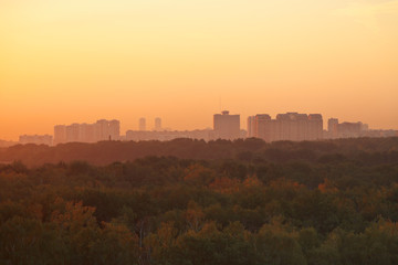 dark orange early sunrise over houses and park