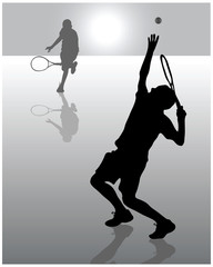 Illustration  of tennis players, vector
