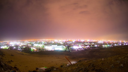 night of jeddah time lapse over mountain with fisheye lens