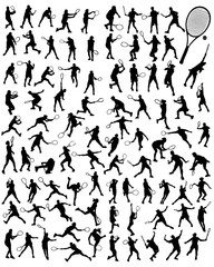 Silhouettes  of tennis player, vector
