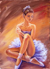 Beautiful sitting ballerina. Oil painting.