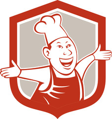 Chef Cook Happy Arms Out Shield Cartoon