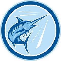 Blue Marlin Fish Jumping Circle Cartoon