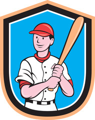 American Baseball Player Bat Shield Cartoon