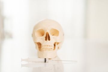 Closeup on human skull on table