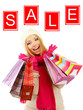 Concept of discount. Attractive young woman with shopping bags,