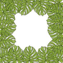 Рамка из листьев монстеры