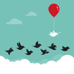 Birds flying in the sky and red balloons. Concept creative