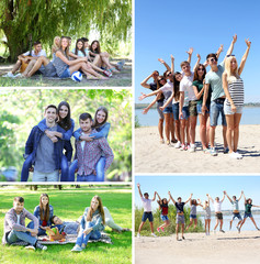 Collage of images with happy friends on beach