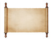 Leinwanddruck Bild - Vintage blank paper scroll isolated on white background with cop