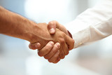 Closeup of a business handshake poster