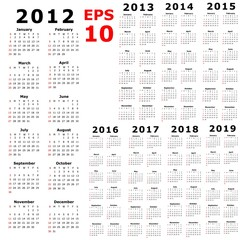 Calendar Illustration for the years of 2012 - 2019