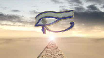 Eye of horus rotating above a piramid