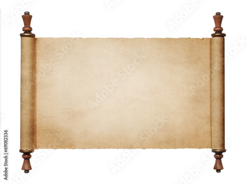 Leinwanddruck Bild Vintage blank paper scroll isolated on white background with cop