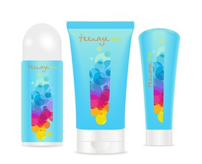 Three cosmetic tubes with  colorful teenager design