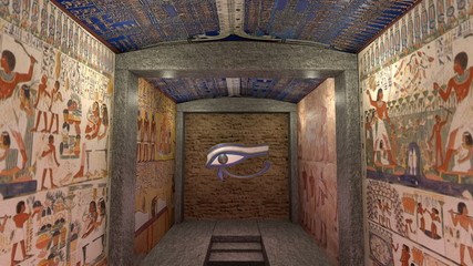 Animation of a tomb in ancient Egypt. Greenscreen at the end.