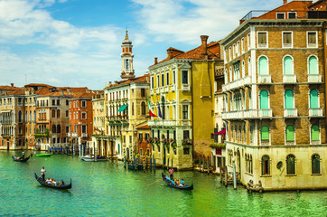 Venice Grand canal with gondolas from Rialto Bridge, Italy