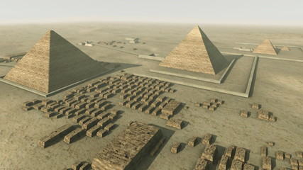 Rotating above a 3D animation of Giza Egypt. Loop-able