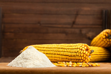 Integral corn flour arranged with corn cob