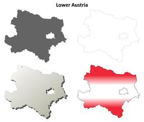 Lower Austria blank detailed outline map set