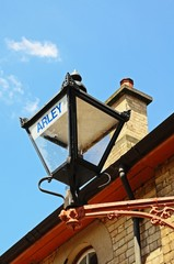 Retro lantern on Arley railway station building.