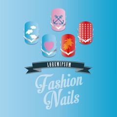 Fashiopn nails vector illustration