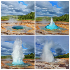 Collage showing different phases of the geyser
