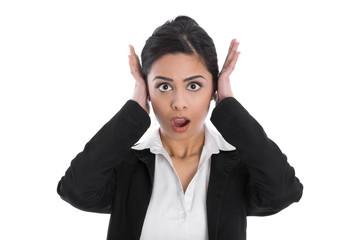 Konzept Ohr: Frau isoliert schockiert und frustriert