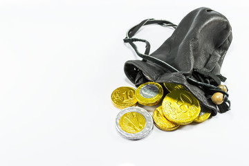 Money in leather pouch