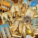 world' landmarks - vintage collage.travel consepts