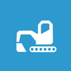 excavator icon, white on the blue background .