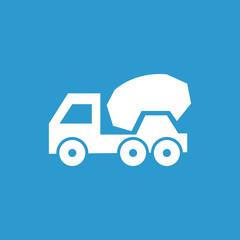 concrete mixer icon, white on the blue background .