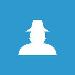 detective icon, white on the blue background .