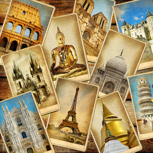 canvas print picture world' landmarks - vintage collage.travel consepts