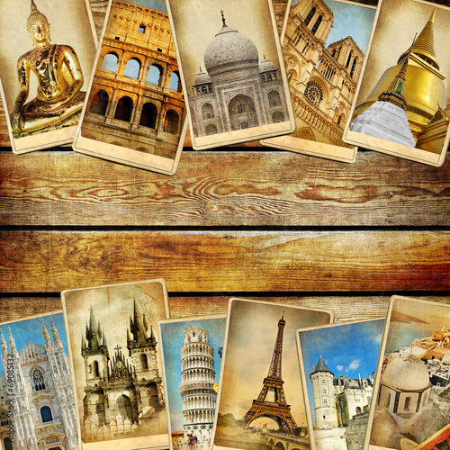 canvas print picture vintage collage - travel background with space for text