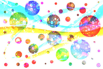 Galaxy. Many colored spheres like planets in universe.