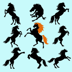 Silhouettes of animals (vector horses clipart )3